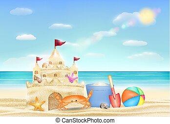 sand castle on a sea sand beach