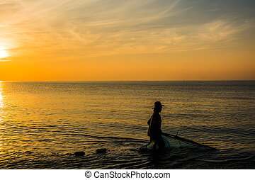 Local fisherman in Twilight time , Thailand