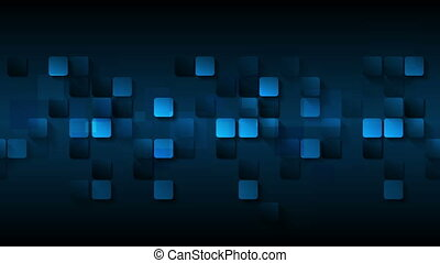 Dark blue abstract squares video animation - Dark blue...