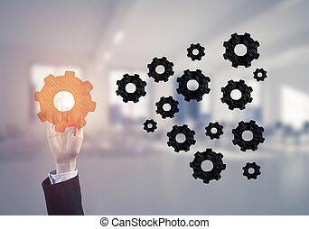 Concept of leadership and teamworking with many icons and...