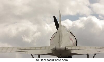 parts of old aircraft on a sky background. aviation industry...