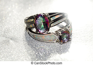 Rainbow Topaz Ring - Fashion ring with mystic topaz, rainbow...