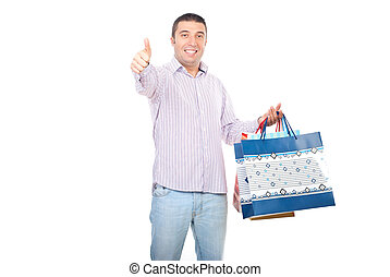 Satisfied shopper man give thumbs - Satisfied shopper man...