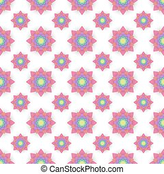 Abstract seamless pattern with colored flowers. Paper flowers ba