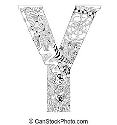 Letter Y for coloring. Vector decorative zentangle object -...
