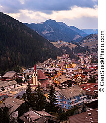 Aerial View of Selva Val Gardena in the Evening, Val...