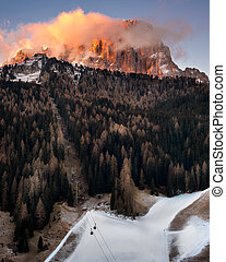 Selva Val Gardena in the Morning, Val Gardena, Dolomites,...