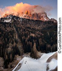 Selva Val Gardena in the Morning, Val Gardena, Dolomites,...