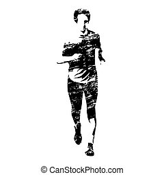 Running man, grungy vector silhouette, front view