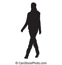 Young slim woman walking, vector silhouette