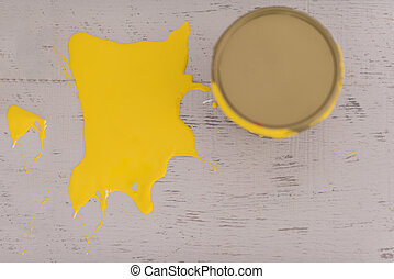 Yellow paint tin can