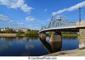 Starovolzhsky road bridge across the Volga in Tver, Russia