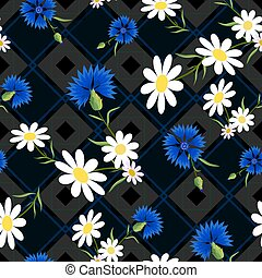 abstract Cornflowers 2-01 - Seamless pattern with daisies...