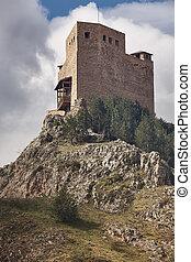 Medieval castle in Spain. Teruel heritage. Alcala de la...