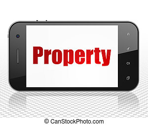 Finance concept: Smartphone with Property on display