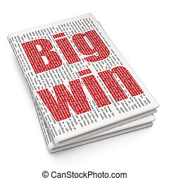 Business concept: Big Win on Newspaper background