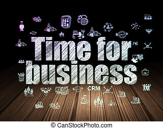 Business concept: Time for Business in grunge dark room