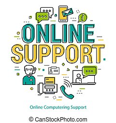 Online Computering Support - round concept - Vector round...