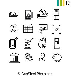 Outline finance icons