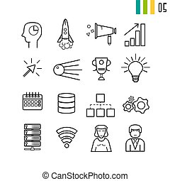 Outline SEO and business startup icons