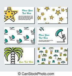 Six card template - summer time - Vector six card template -...