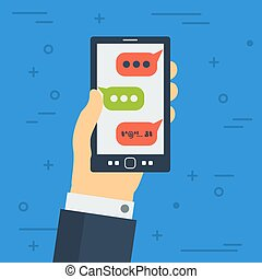 Bad sms on monitor of mobile phone - Vector cyberbullying...