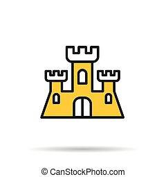 Line icon - sand castle - Vector line icon - sand castle...