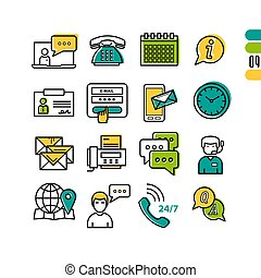 Online Support - linear icons - Vector icons set of online...