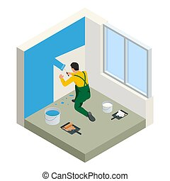 Isometric Paintroller painting white wall with roller blue...