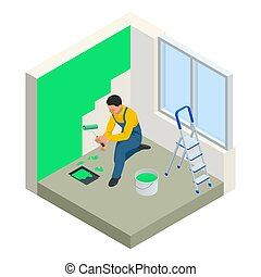 Isometric Paintroller painting white wall with roller red...
