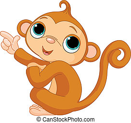 Pointing baby monkey - Illustration of cute pointing baby...