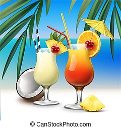 Tropical cocktails Tequila Sunrise and Pina Colada - Vector...
