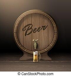 Wooden beer barrel - Vector old wooden barrel on rack with...