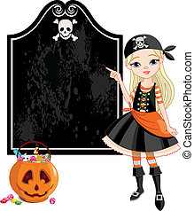 Halloween Pirate girl pointing - Pointing girl dressed as...