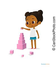 Black girl wearing T-shirt and blue shorts stands and builds tower using pink stacking cubes of different size. Visual identification of larger and smaller objects. Vector illustration for banner.