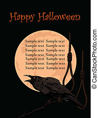Crow croaks against a full moon - Halloween Crow sitting and...