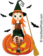 Little Halloween Witch on pumpkin - Illustration for...
