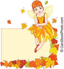 Autumn fairy place card - Thanksgiving autumn fairy sitting...