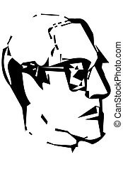 vector sketch for portrait of a man's profile with glasses