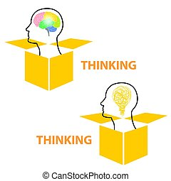 Thinking out of the box symbol showing the concept of new innovative ideas with a human brain