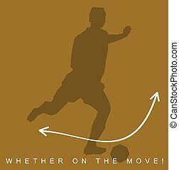 Vector illustration of silhouette of an athlete and sneakers