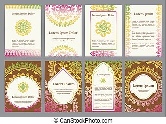 Vector templates with mandala. Based on ancient greek,...