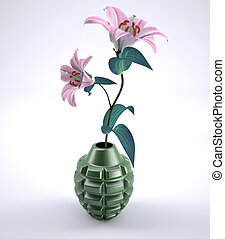 Hand grenade with flowers inside