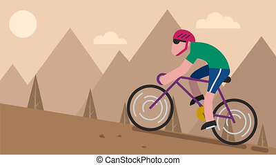 Cycling Mountain - Animation of flat design character...