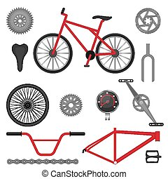 Parts of BMX bike off-road sport bicycle used for racing and...