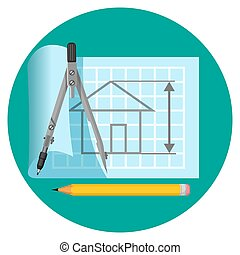 Blueprint icon with project of house, compasses and pencil -...