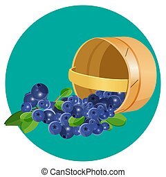 Wooden underlying basket with blueberries realistic vector...