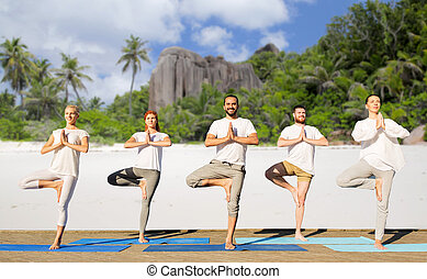 people making yoga in tree pose on mats outdoors - yoga,...