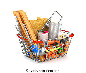 shopping cart filled with building materials. 3D illustration