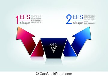 Arrow divided in two arrows. Template, scheme, diagram, chart, graph, presentation. Business concept with 2 steps, options, processes.
